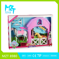 2016 New !Eco-friendly PVC 11Inch Movable Joints Riding Barbie Girl+Horse+Stable+Tools Toys horse house MZT8980