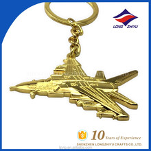 Gold Plating Airplane Design Keychain for Airports