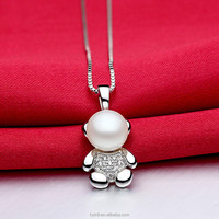 High quality 100% 925 sterling silver Three - Layer Plating rhodium Fresh water pearl design bear Pendants & Charms