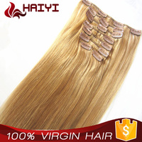 100% Natural Human Hair No Tangling 7A Straight Indian Human Hair Clip In Extensions For Black Women