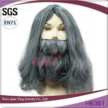 costume grey synthetic fake santa mustache beard and wig