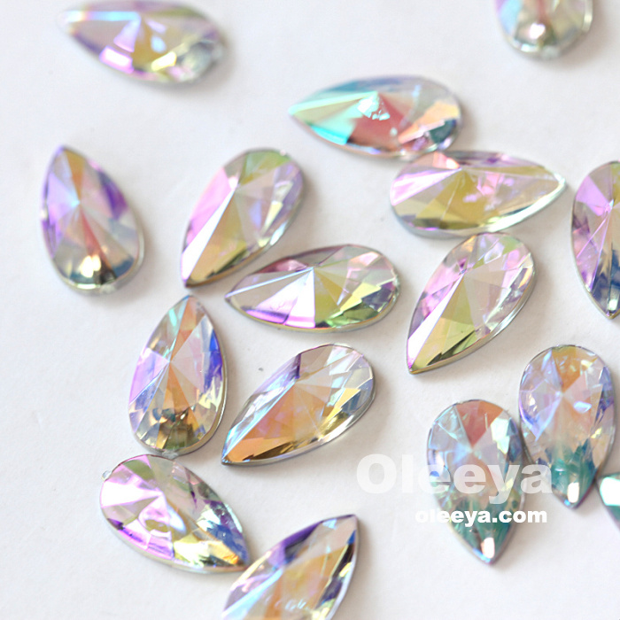 Oleeya factory wholesale free sample acrylic point teardrop 9*18mm flat back nail gemstones for nail art decoration