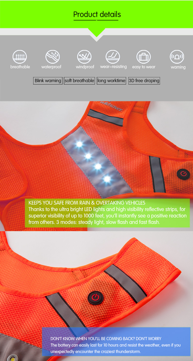 Night Safety LED Flashing Light Reflective Jogging Running Vest