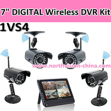 "Cheap cctv camera kit 7"" LCD Monitor/Recorder, 1PCS Monitor, 4PCS Wireless camera with monitor receiver ,2.4"