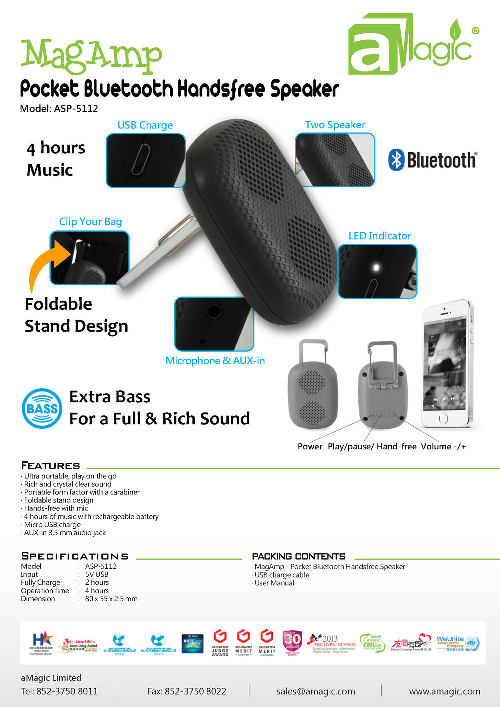 CE RoHS usb portable Pocket Bluetooth Handsfree Speaker