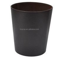 Vintage home use black faux leather waste paper bin