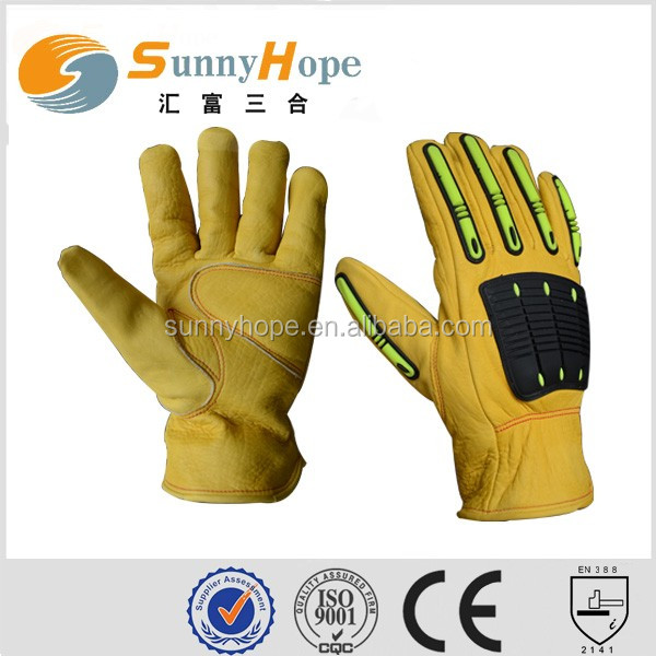 SUNNY HOPE cut resistant leather gloves with TPR for work