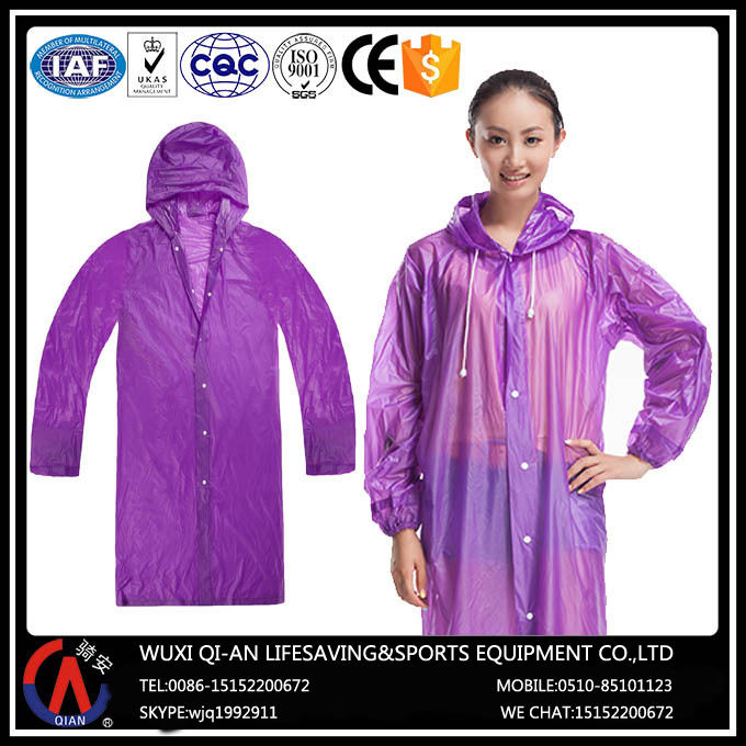 Outdoor Bikers Adult Waterproof PVC Rain Poncho With Sleeves