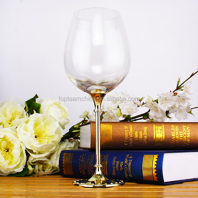 Gold stem white wine glass with one-drill for wedding party with factory price