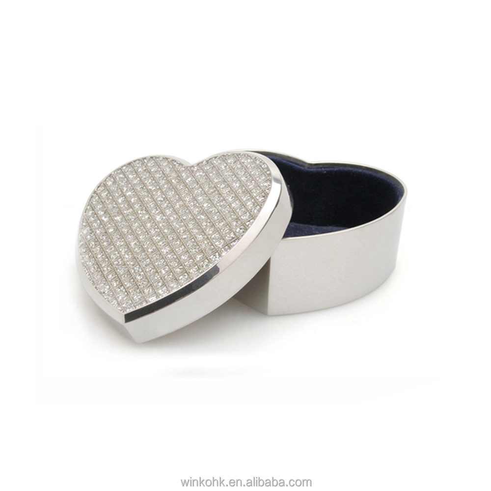 WINKO Diamond heart shape metal zinc alloy nickel plated jewelry box
