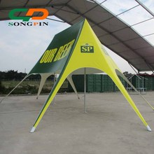 Customized online shopping logo printing double pole star tent for sale