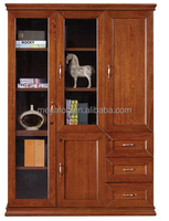 Durable Small Cherry Wood Filling Cabinet With Drawers/Bookcase with Storage Cabinet(FOH-BMT133)