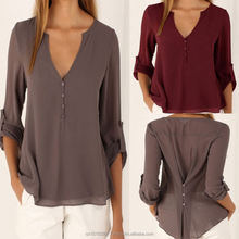 Solid Button Irregular Plus Size Fashion Blouse