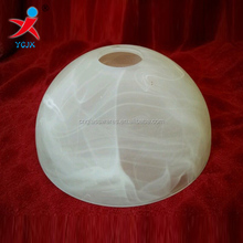 Bowl shaped glass lamp shade with alabaster appearance