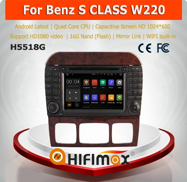 Hifimax android 5.1 oem 7inch in dash car dvd players for MERCEDES-BENZ S CLASS W220 with HD capacitive screen