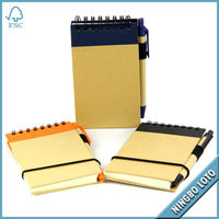 Kraft Cover Spiral Note Book with Pen