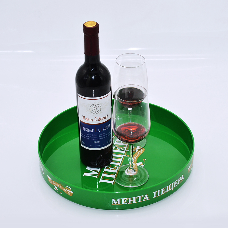 MOQ1000PCS cheap Bar wholesale round drink custom printed plastic serving tray