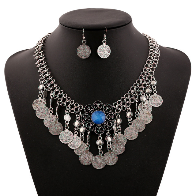 Vintage fashion jewels carved coin tassel necklace jewelry accessories set