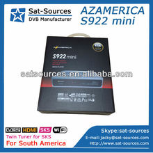 2014 Hot Sale High Quality Twin Tuner HD Receiver Azamerica S922 mini