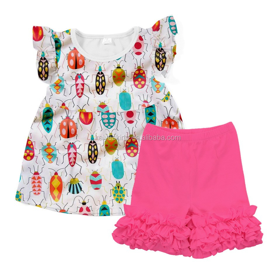 Little girls boutique ruffled Icing shorts outfits kids clothes