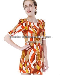 European Style Trendy Women New Printing Patterns Roman Dress Evening Dress