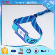 MDC483 Custom NFC polyester bracelet rfid fabric woven wristband for event