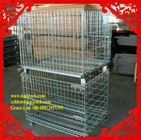 Iron Zinc Plated Folded Stacked Steel Wire Mesh Pallet Container Cage Storage Pallet Basket Box Container