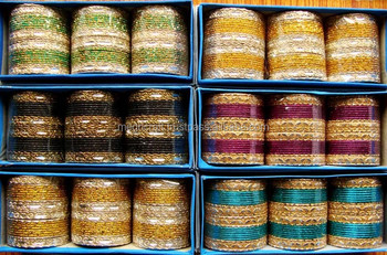 Indian Bridal churi set - Indian Wedding bangles - Metal chura bangles set - Wholesale indian bangles