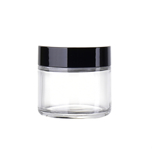 60g 60ml Clear <strong>Glass</strong> Cream Screwtop <strong>Jar</strong> with Black Plastic Lid