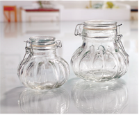 330ml onion shaped glass storage jar candy jar with clip swing top