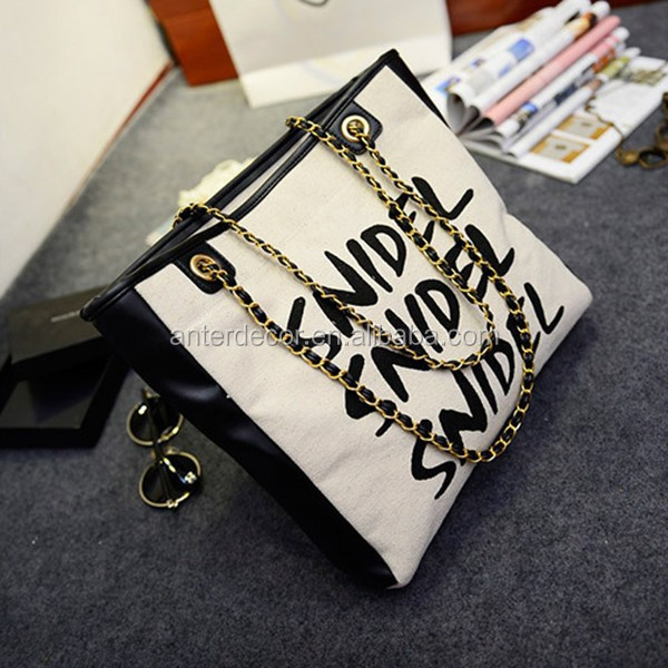 2015 English word printed outside pocket quilted tote bag lady handbag