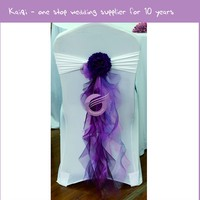900 For Sale Wedding Rental Cheap White Chair Covers And Sashes With Dark Purple Organza Chair Sashes Chair Covers
