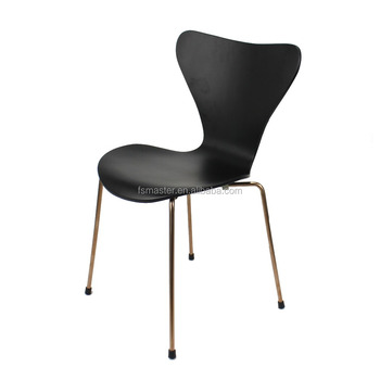 stacking restaurant chair gold plated metal frame black seat 7 chair