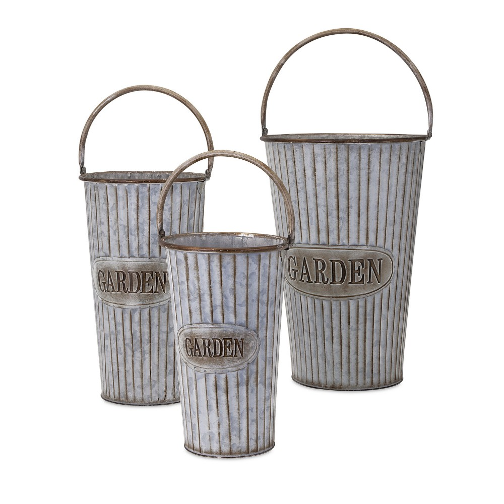 3 Piece Set Galvanized Metal Large Tall Flower Vases