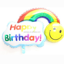 2015 New 116cm*80cm big smiling face of a rainbow foil balloons cartoon toy helium balloons