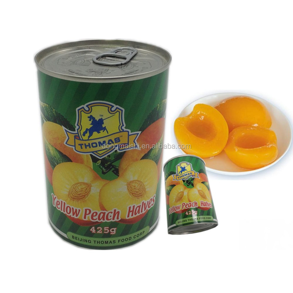 425g tin packed canned yellow peach in light syrup