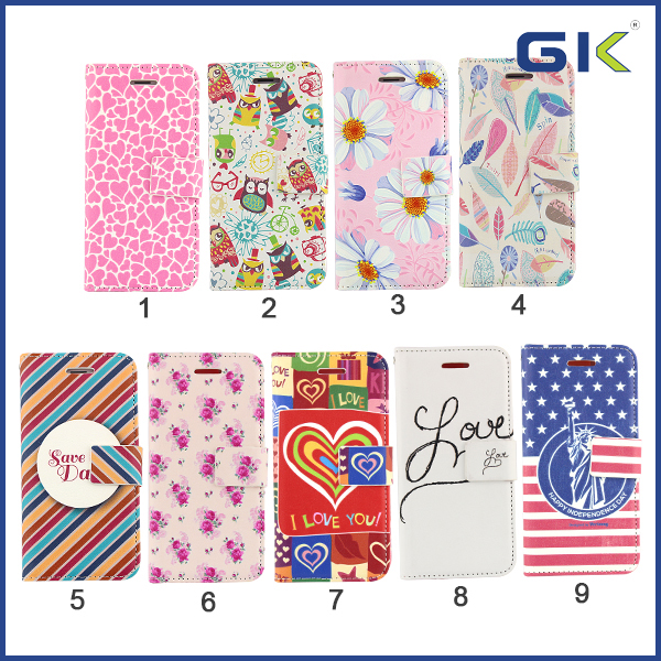 [GGIT] 3D Relief Colorful Pattern Leather Case TPU+PU Flip Cover For IPhone 6 Holster
