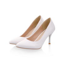 white middle heels point toe ladies pump shoes women 2016