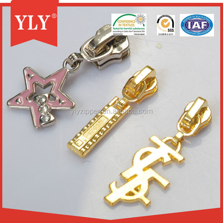 Metal decorative zipper pulls for garment