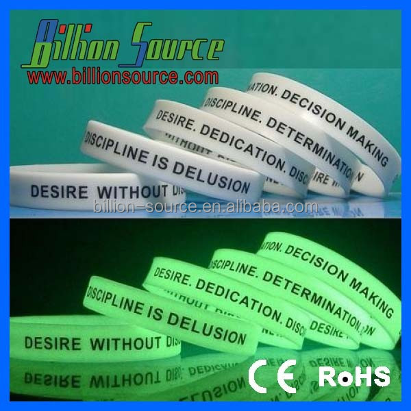 Promotional gifts silicone glow in the dark rubber hand band