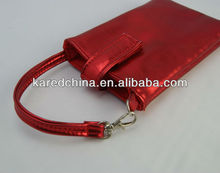 2013shiney red of Mobile Phone PU leather shiney Carry Bag for iPhone 4 & 4S