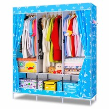 Double simple assembled large economy dustproof fabric collection portable wardrobe