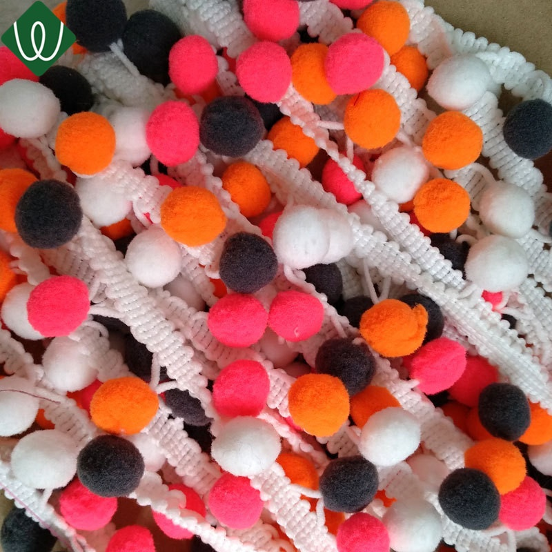 Hot Sale Mixed Color Pom Pom Tassel Fringe Trimming for Clothing Accessories