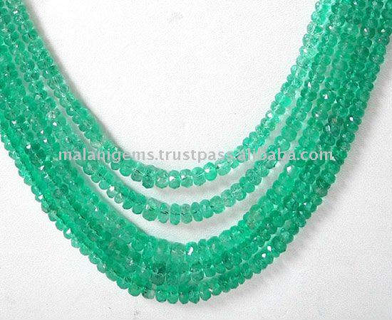 Natural Colombian Emerald Roundel Facet Loose Beads