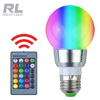 E27 Dimmable 16 Colors Changing 3W 85-265V Magic RGB LED Light RGB Bulb with 24key IR Remote Control Home lighting
