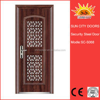 Single residential iron steel french doors grill designs, iron door pictures for home SC-S068