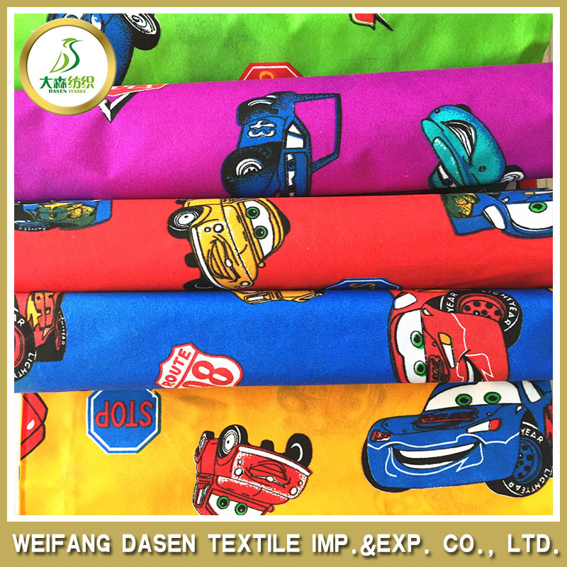 polyester microfiber benben cartoon cars print fabric for children clothing