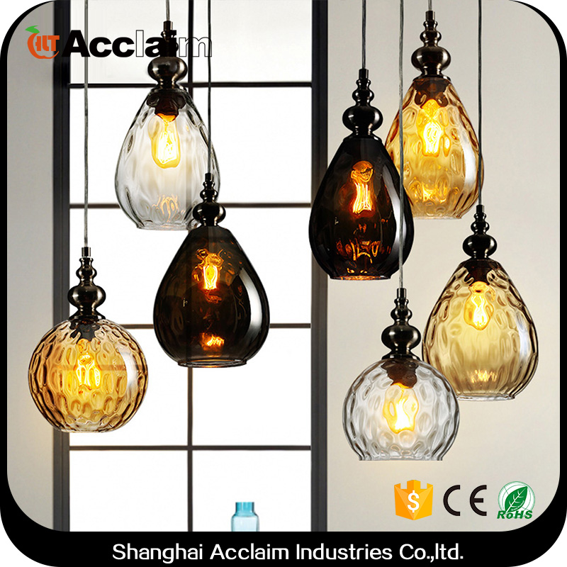 Northern europe bulb shaped glass pendant lamp hanging light porcelain ballroom chandeliers for parlour