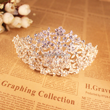 Gorgeous Sparkling crystal Wedding Diamante Pageant Tiara Hairband Crystal Bridal Crown For Bride Hair Jewelry Headpiece