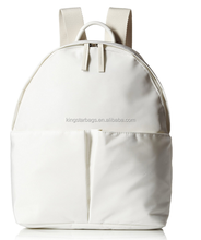 White Clean Nylon Japanese Backpack With Cotton Strap